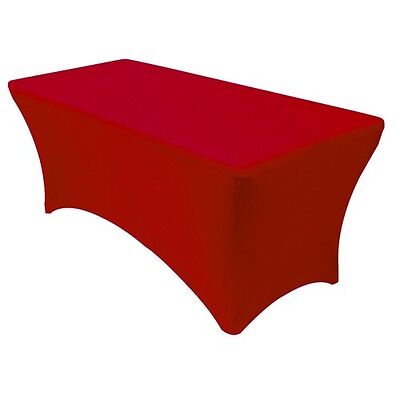 New Red Stretch Spandex Display Table Cover  Throw Drape Fits 8 Ft Banquet Table