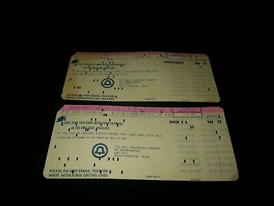 Set Of 2 Bell Telephone Of Pennsylvania Imb Punch Card Phone Bills-Form 2352-5