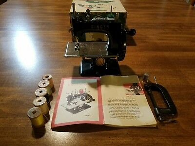 Antique Singer Sewhandy Mini Toy Sewing Machine With Box, Manual, & Accessories