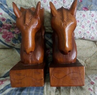 Pair of Vintage Wooden Wood Hand Crafted Carved Primitive Bookends Horse Head