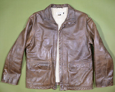 J. Crew Leather Bomber Jacket Fleece Lining Medium