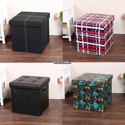 Modern Cube Ottoman Storage Box PVC Leather Seat Stool Chair Multicolor  MY8L
