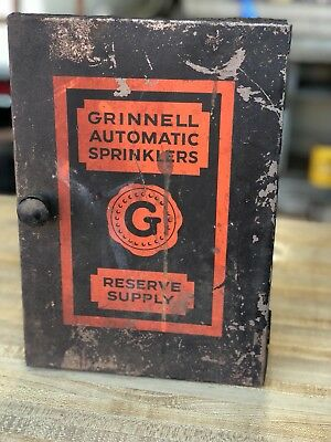 RARE GRINNELL Co Sprinkler Head Wall Storage Cabinet with Wrench and 6 Heads