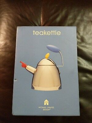 Michael Graves Stainless Tea Kettle Teapot with whistle *Damaged Box* NIB