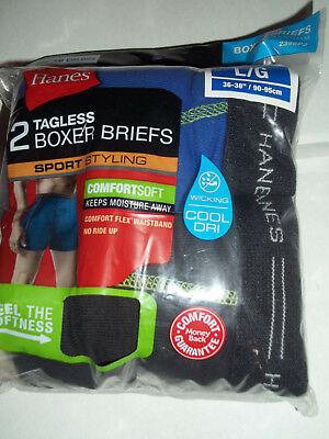"""Hanes BOYS BOXER BRIEFS 2 Pack """"TAGLESS"""" COMFORTSOFT NEW 100% Cotton Large"""
