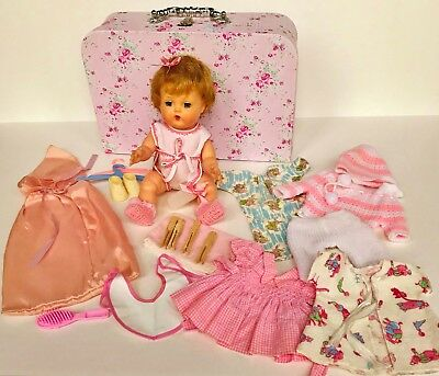"""Vintage 1959 American Character Tiny Tears 11"""" 12"""" baby doll 20 pc layette case"""