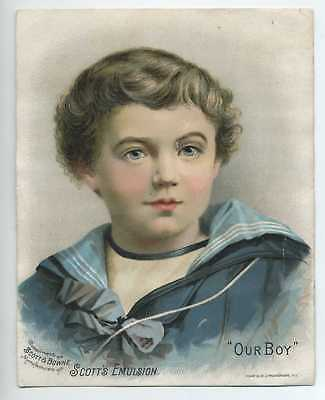 Rare 1880's VICTORIAN TRADE CARD BOY in SAILOR SUIT SCOTT'S EMULSION Advertising