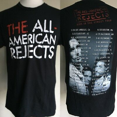 "THE ALL AMERICAN REJECTS (2012) ""Kids In The Street"" Tour Dates T-Shirt Medium"