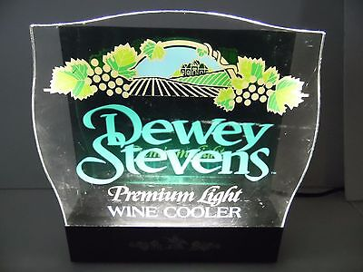 WORKS Vtg 1980s ANHEUSER BUSCH DEWEY STEVENS WINE LIGHT UP BAR ADVERTISING SIGN