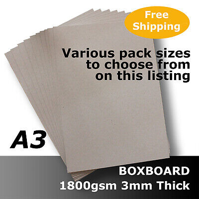 BoxBoard Backing Card ChipBoard 1800gsm 3mm A3 Grey 100% ReCycled #B1868