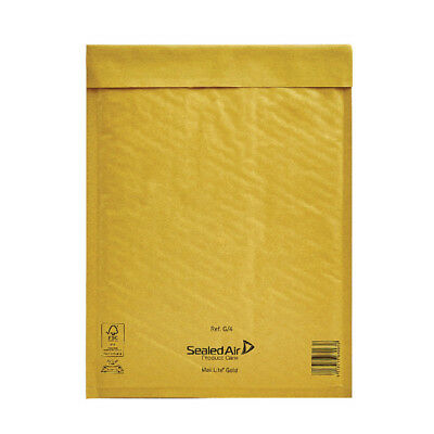 Mail Lite Bubble Lined Size G/4 240x330mm Gold Postal Bag (Pack of 50) MLGG/4