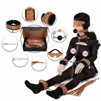 Leather Suit Tune Hands/Feet Chain Eye Mask Metal Collar Adult Bondage Toys