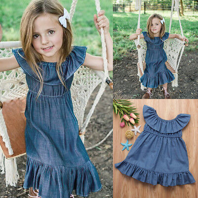 Fashion Baby Kids Girls Toddler Denim Jeans Overalls Dress Skirt Casual Clothes