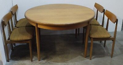 Mid Century G Plan Red Label Teak Extending Round Dining Table & 4 Chairs (133)