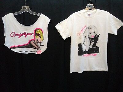 Rare Lot of 2 Angelyne Sexy Pin Up Fan Club T-Shirt in Size Small