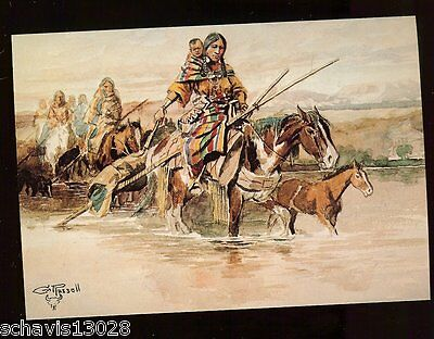 Charles Marion Russell Squaw Travois Native American Indian MCG Postcard 444