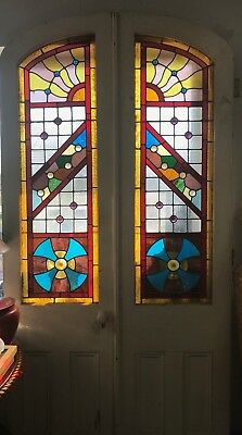 Pair of stained glass Philadelphia doors