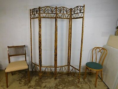 Antique Victorian Bamboo 4 Panel Room Divider Dressing Screen