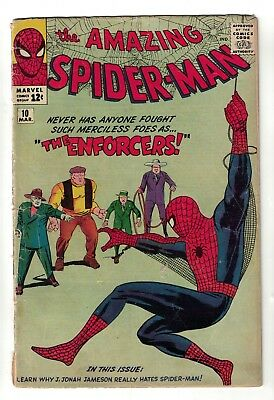 MARVEL Comics SPIDERMAN SILVER age #10 1964  VG 4.0  ENFORCERS Appearance