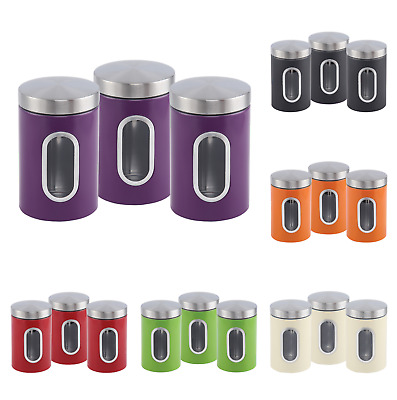 3pc Storage Canister Set Tin Jar Tea Coffee Sugar Container Stainless Steel Nea