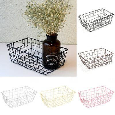5 Colors Wire Basket Magazine Post Storage Crate Vintage Metal Mesh Hamper 32cm