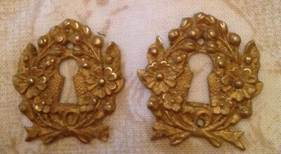 Pair Antique French Gilded Brass Lock /  Key Hole Escutcheons - Flowers And Bows