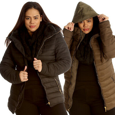 New Womens Jacket Plus Size Ladies Quilted Hooded Heavy Padded Warm Zip Faux Fur