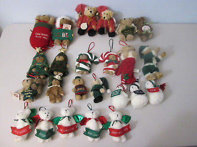 Boyds Bears Ornaments Lot of 24 Christmas Holiday Santa Snowman Stocking