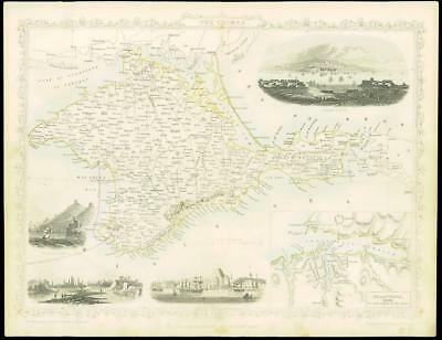 """1850 Illustrated Original Antique Map of """"THE CRIMEA""""  by Tallis (73d)"""