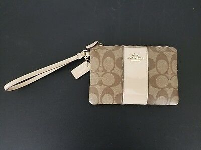 COACH Womens Cream Brown and Beige Wristlet Purse Wallet USED CLEAN