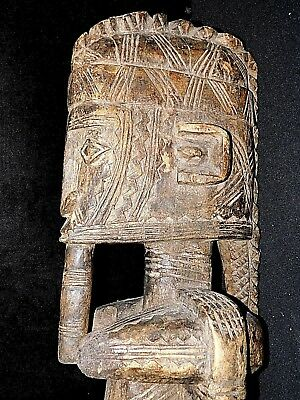 Large Rare Antique 19th Century Tribal Hand-Carved Wooden Sculpture