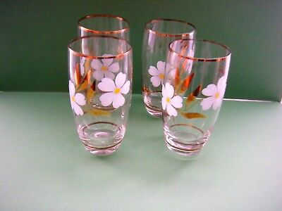 Set X 4 Hi Ball/Lemonade Glasses 50s /60s Clear with Daisy & Gold Leaf Design