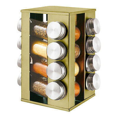 16pc Revolving Rotating Spice Herb Rack Holder & Glass Jar Container Set Gold