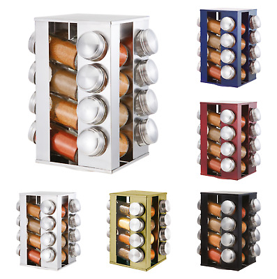 16pc Revolving Rotating Spice Herb Rack Holder & Glass Jar Container Storage Set