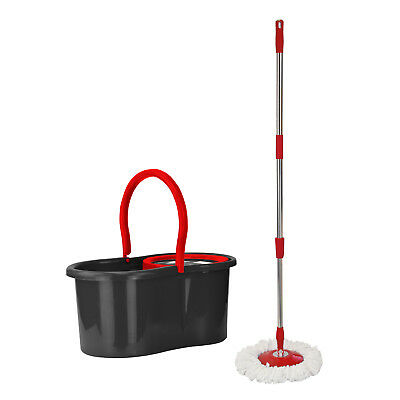 Pedal Bucket and Microfibre Rotary Spin Mop Cleaning Set Extendable Black Red