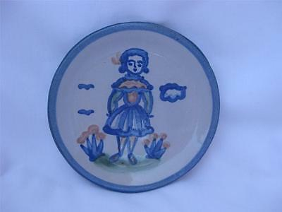 """M A Hadley Country Girl Wife Pottery 4"""" Coaster small Plate Trinket Dish USA"""