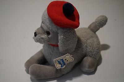 Paris Poodle Dakin 1989 Vintage New with Tags Grey Dog with Beret Plush Stuffed