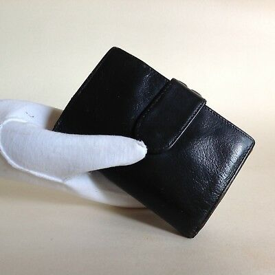 Suzy Smith Vintage 1980s Black All Leather Coin Purse Wallet Leather Lining