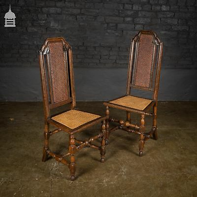 Pair of 17th C Continental Fruitwood High Backed Hall Chairs