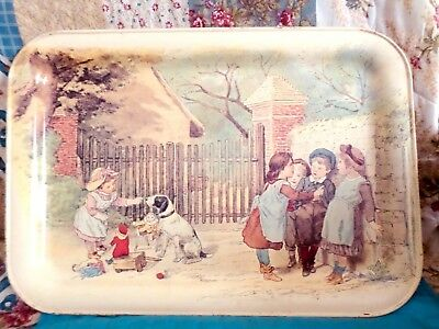 "RARE Vintage Massilly France Tin Metal 19 3/4  x 13 3/4"" Tray Children Dog - VG"