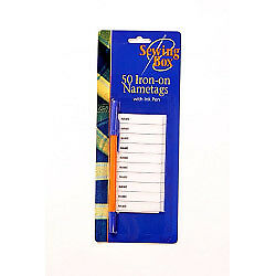 Sewing Box Iron On Name Tags 50 Pack
