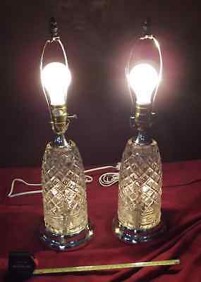 Lamps - Pair Of Vintage 3-Way Night Light Fancy Crystal Glass Table Lamps