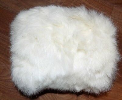"""Vintage Real Rabbit Fur Hand Muff Off White 8"""" - small women or child EXCELLENT"""