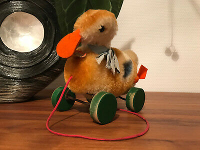 Steiff Piep Ente auf Rädern QUACKING Duck on wheels, Schild wie 2314,2 ex alt