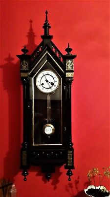 Very rare Austria MUSICAL Gothic Vienna C 1869 springs Regulator