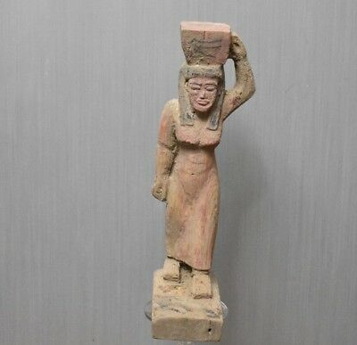 Rare Ancient Egyptian Wood Statue A woman carries a sacrifice  (300to1000 BC)