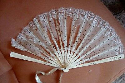 Antique Hand Bone & Lace Fan - Very, Very Old - Needs T.l.c.