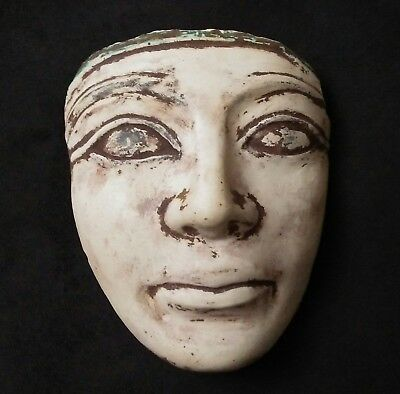ANCIENT ANTIQUE Egyptian Stone MASK  FACE WALL of person   (1500–300 BC)