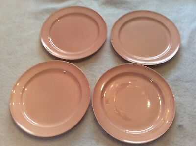 "T.S.& T. LU-RAY Four Pink Luster Dinner Plates 10"" In Diameter In Excellent Cond"
