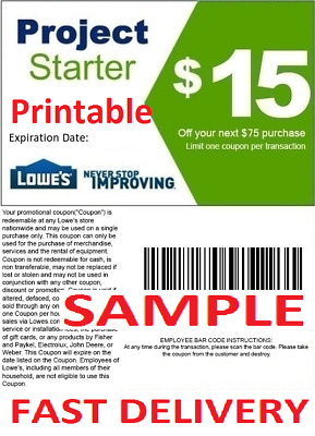 1X One Lowes 15 Off 75 Online And Instore Printable Discount